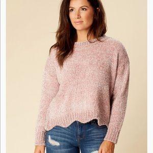 Scallop hem crop sweater